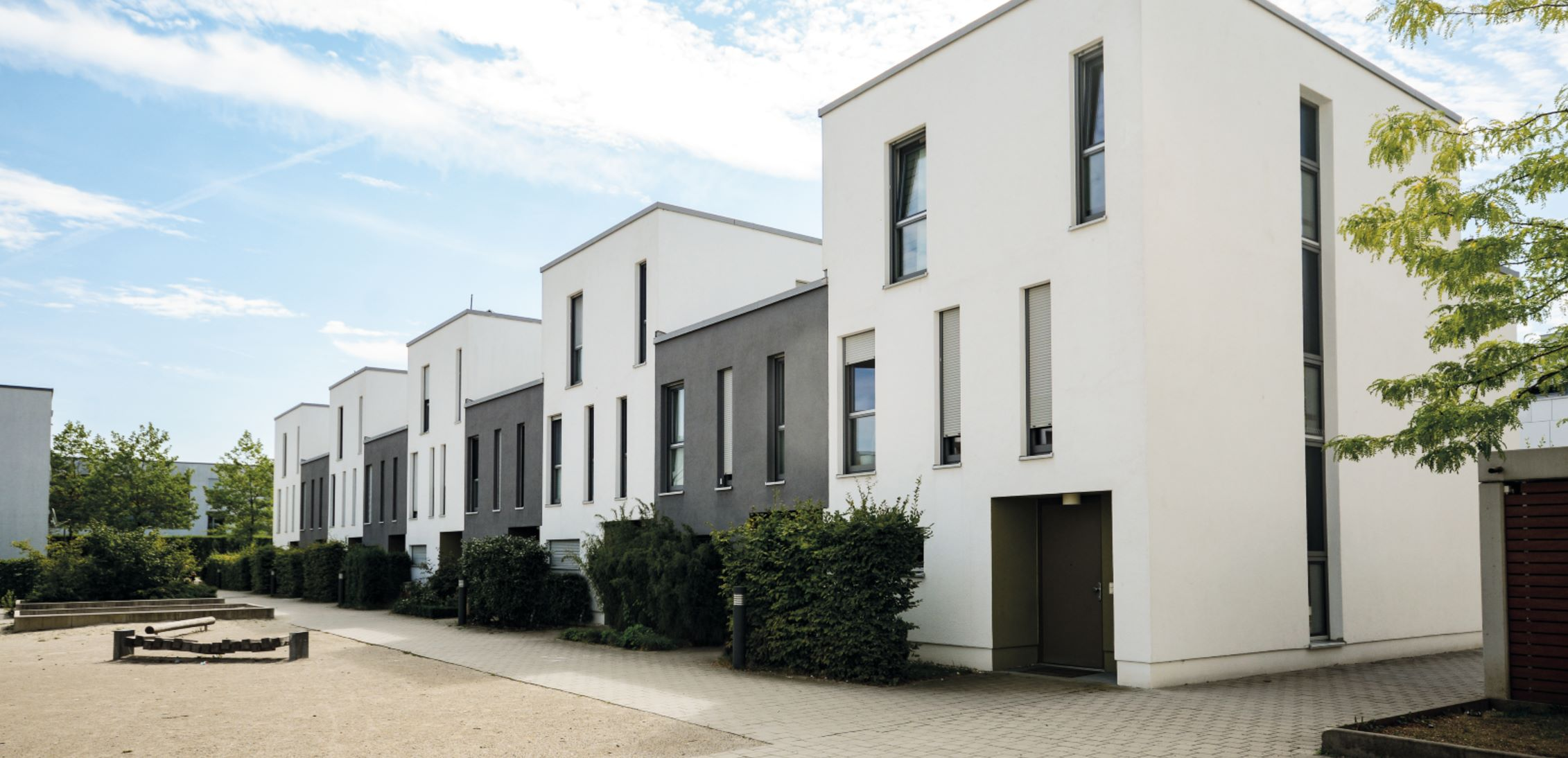 set of similar houses in a row