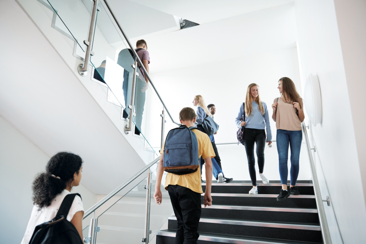 a group of students in hallway