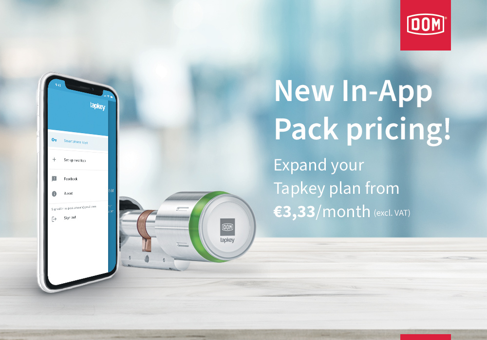an advertisement of Tapkey price change