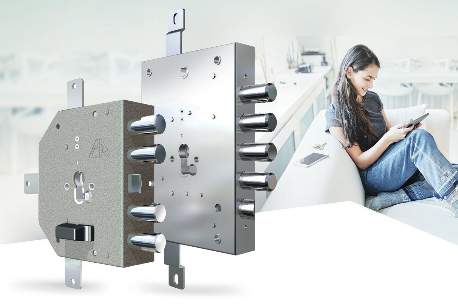 two gear locks for euro profile cylinder with a girl sitting on the sofa looking at a tablet in the background