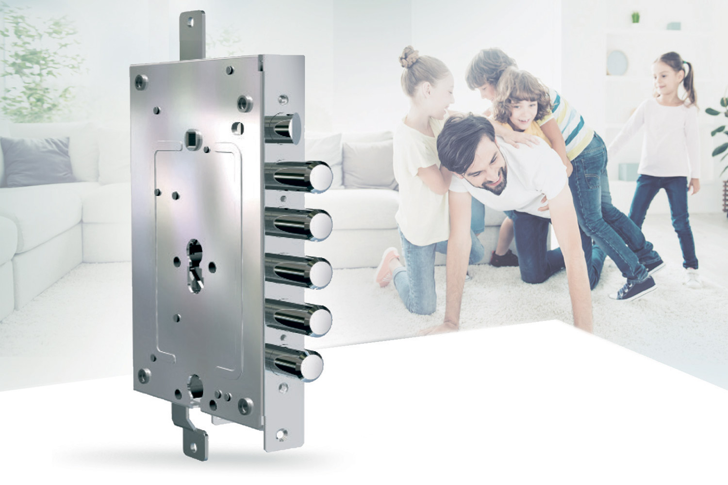 multi-function lock for armored door with a dad playing with children in the background