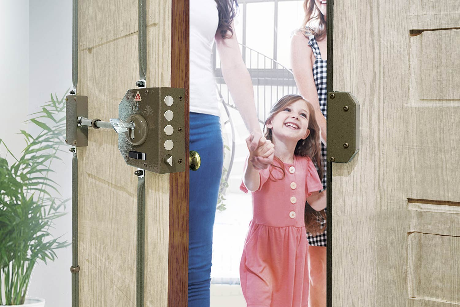 two women and a girl entering the house by opening the wooden door protected by a CR lock